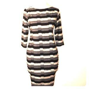 Dress Barn striped black gray tan dress 8P
